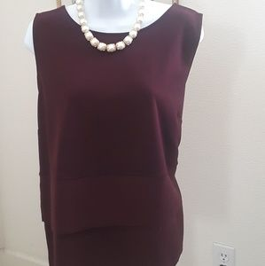 Very Exquisite sleeveless burgundy blouse